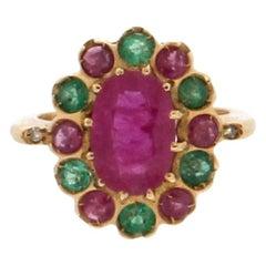 3 Karat Ruby, 18 Karat Yellow Gold, Emerald, Cocktail Ring