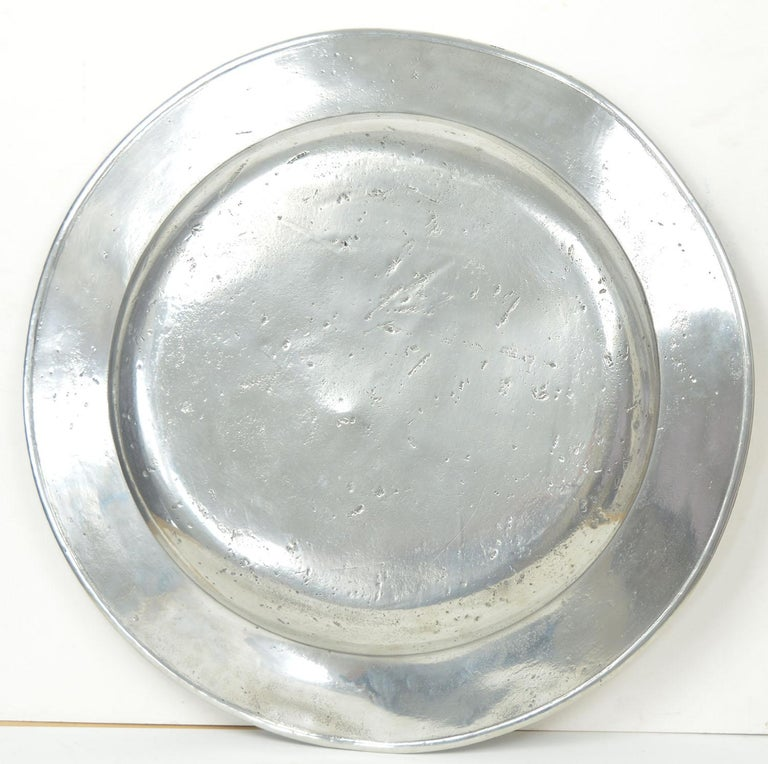 Georgian 3 Large Antique Brightly Polished Pewter Chargers, 18th Century. 20 inches wide. For Sale