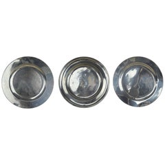 3 Large Antique Brightly Polished Pewter Chargers, 18th Century