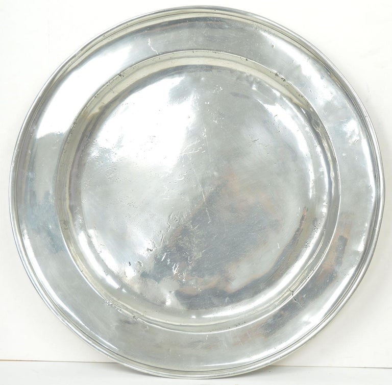 3 Large Antique Brightly Polished Pewter Chargers, 18th Century. 20 inches wide. For Sale 1