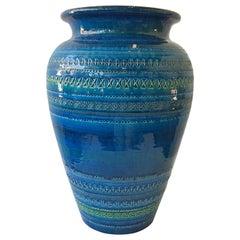 3 Large Bitossi Blue Rimini Flavia Montelupo Vases