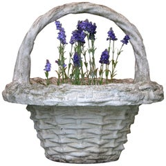 3 Large Concrete Basket Planters with Handles, Basket Weave, France, 1970s