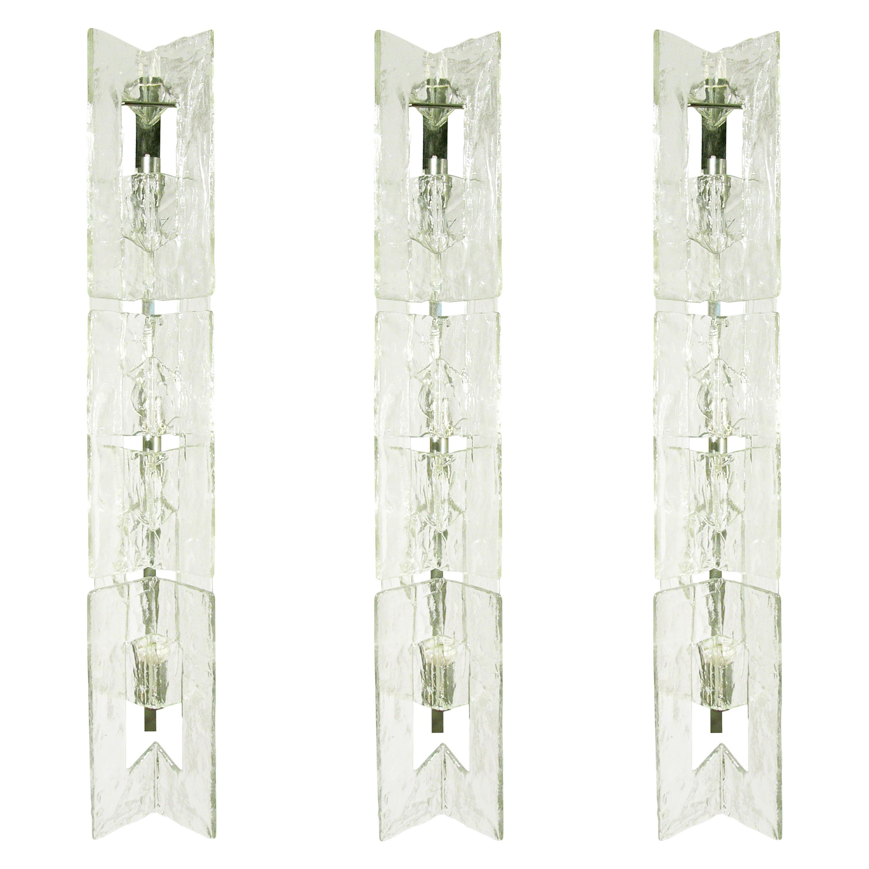 3 Large Italian Clear Glass 1970s Wall Lamps by Carlo Nason for AV Mazzega