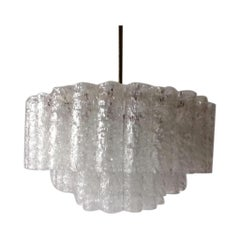 3 Layer Multiple Ice Glass Tubes Chandelier by Doria Leuchten, 1960s Germany