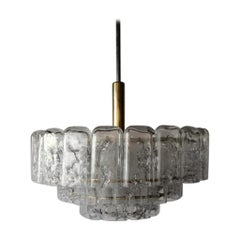 3 Layered Ice Glass & Brass Body Chandelier by Doria Leuchten, 1960s, Germany