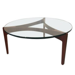 3-Legged Sven Ellekaer Rosewood and Glass Circular Coffee Table, Denmark 1960s