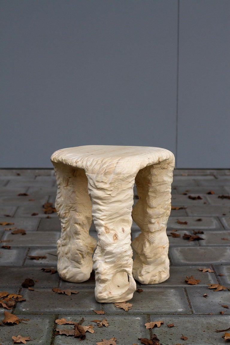 Series of stools designed and handcrafted in the Netherlands by Tellurico Design Studio using only high-quality woods.  The three stools are inspired by the ancient technique of wood carving and adapted to the contemporary aesthetic. This