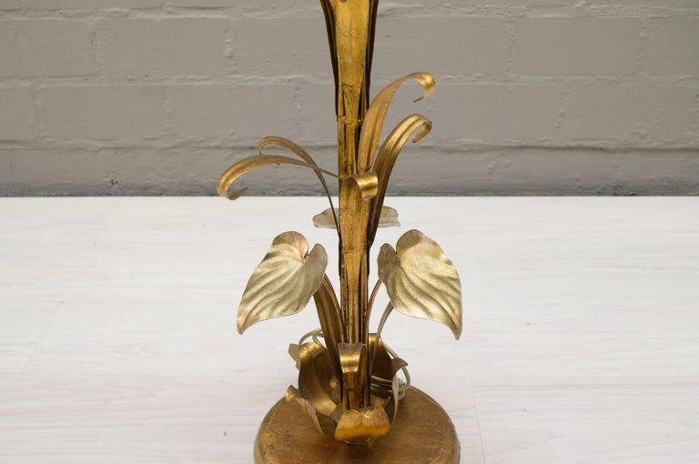 3-Light Gilded Floral Floor Lamp by Hans Kögl, Germany, 1970s For Sale 4