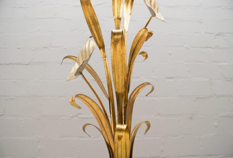 3-Light Gilded Floral Floor Lamp by Hans Kögl, Germany, 1970s For Sale 7