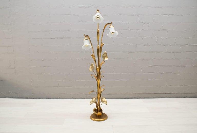 Hollywood Regency 3-Light Gilded Floral Floor Lamp by Hans Kögl, Germany, 1970s For Sale