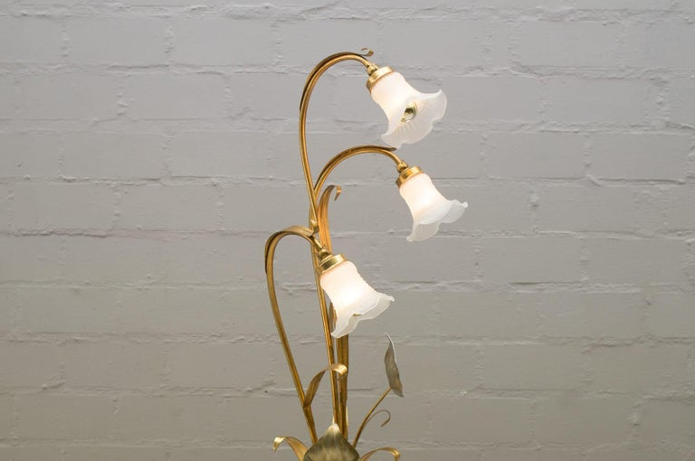 Late 20th Century 3-Light Gilded Floral Floor Lamp by Hans Kögl, Germany, 1970s For Sale