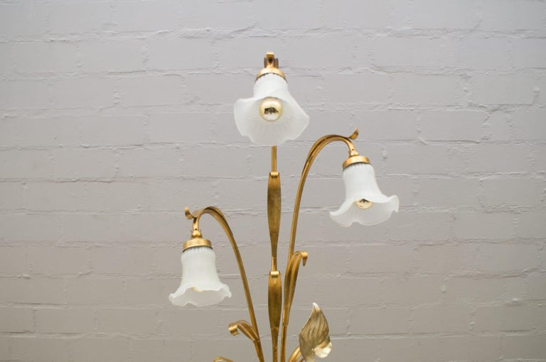 Glass 3-Light Gilded Floral Floor Lamp by Hans Kögl, Germany, 1970s For Sale