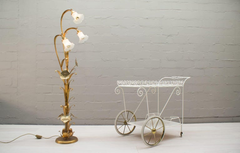 3-Light Gilded Floral Floor Lamp by Hans Kögl, Germany, 1970s For Sale 1