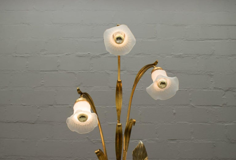 3-Light Gilded Floral Floor Lamp by Hans Kögl, Germany, 1970s For Sale 2