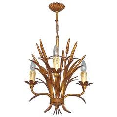 3-Light Gilt Metal Italian Leaf Chandelier Kögl Maison Jansen Bagues Style 1950s