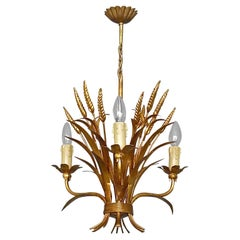 3-Light Gilt Metal Italian Leaf Chandelier Kögl 1950s