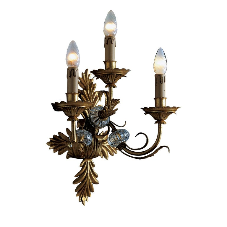 Italian 3-Light Wall Sconce For Sale