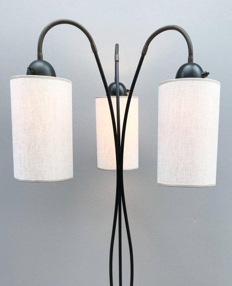 Mid-Century Modern 3 Lights Arch Floor Lamp with Fabric Shades For Sale