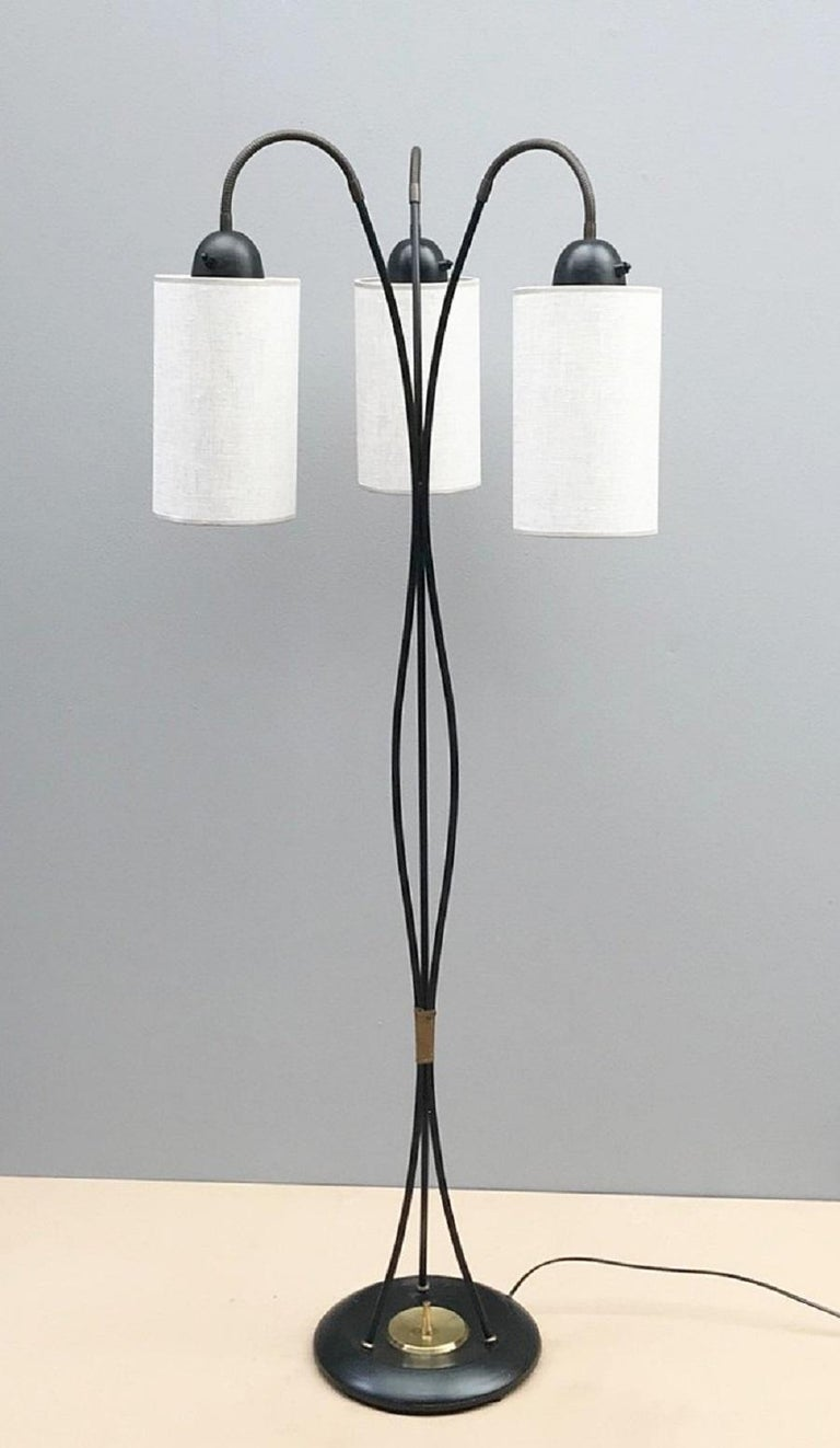 European 3 Lights Arch Floor Lamp with Fabric Shades For Sale