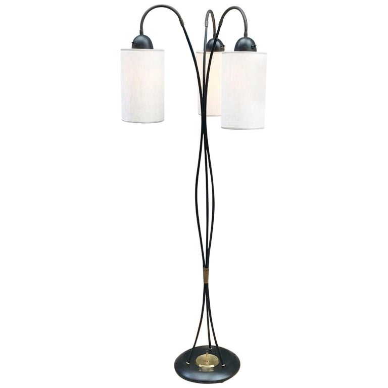 3 Lights Arch Floor Lamp with Fabric Shades For Sale