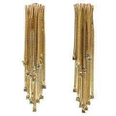 """3"""" Long Hattie Carnegie Rhinestone Gold Waterfall Tassel Dangling Earrings"""