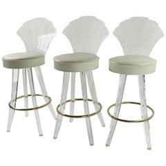 3 Lucite and Chrome Swivel Stools by Hill Manufacturing