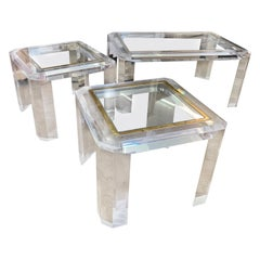 3 Lucite Plexiglass Design French Mid-Century Modern Tables