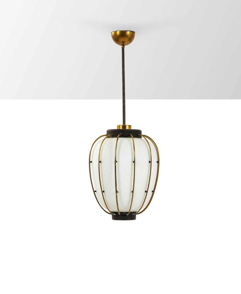Lacquered 3 Mid-Century Modern Lantern in Brass and Opaline Glass, 1950, Stilnovo attr.