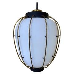 Mid-Century Modern Lantern in Brass and Opaline Glass, 1950, Stilnovo Attr
