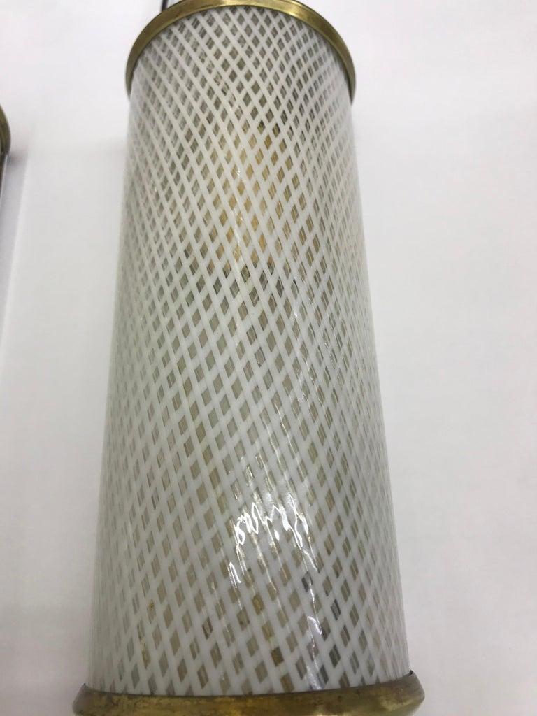 3 Mid-Century Modern Murano 'Filigrana' Glass Sconces, Venini, circa 1950 For Sale 4
