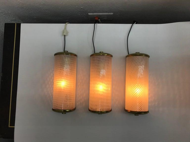 3 Mid-Century Modern Murano 'Filigrana' Glass Sconces, Venini, circa 1950 In Good Condition For Sale In Merida, Yucatan