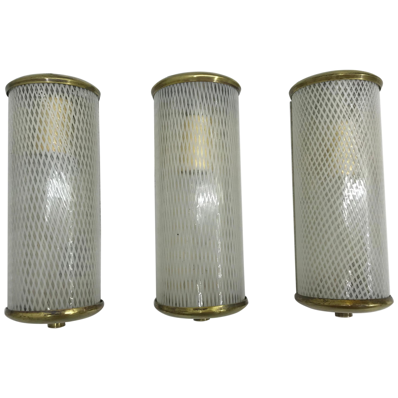 3 Mid-Century Modern Murano 'Filigrana' Glass Sconces, Venini, circa 1950