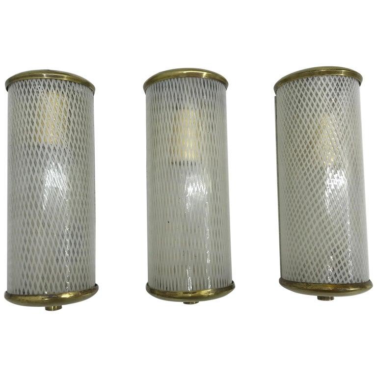 3 Mid-Century Modern Murano 'Filigrana' Glass Sconces, Venini, circa 1950 For Sale