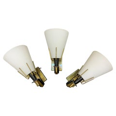 3 Mid-Century Modern Sconces Attributed to Stilnovo, Italy, circa 1950