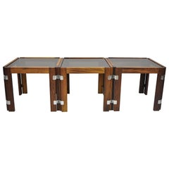 3 Midcentury Danish Modern Rosewood & Smoked Glass Side Tables by Interior Form