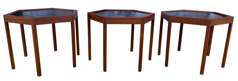 Mid-Century Modern '3' Midcentury Danish Modern Teak Hexagon Stacking Tables by Hans Andersen For Sale