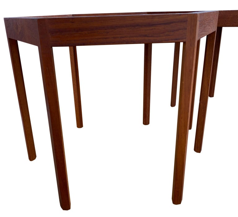 Mid-20th Century '3' Midcentury Danish Modern Teak Hexagon Stacking Tables by Hans Andersen For Sale
