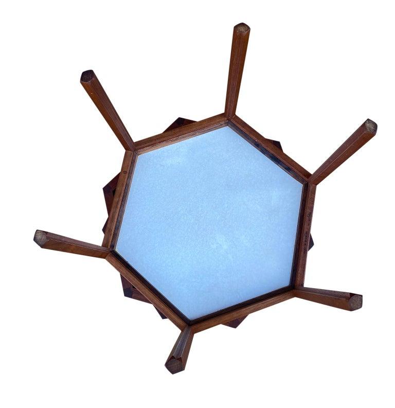 '3' Midcentury Danish Modern Teak Hexagon Stacking Tables by Hans Andersen For Sale 2