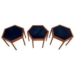 '3' Midcentury Danish Modern Teak Hexagon Stacking Tables by Hans Andersen