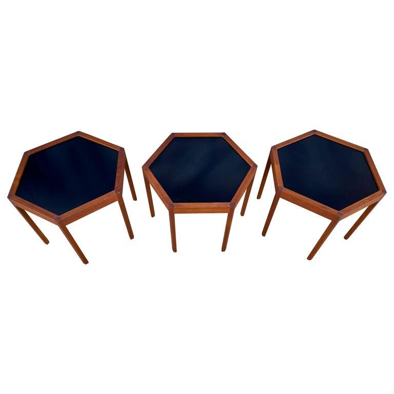 '3' Midcentury Danish Modern Teak Hexagon Stacking Tables by Hans Andersen For Sale