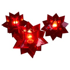 A Midcentury Italian Red Acrylic Perspex Star Shaped Table Lamp