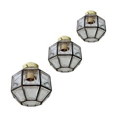 3 Midcentury Jakobsson Limburg Glass Brass Flush Pendant Lights, Gio Ponti Era