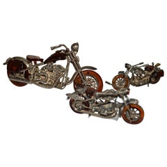 Set Of 3 Miniature Amber And Silver Harley Davidson Style Motor Bikes