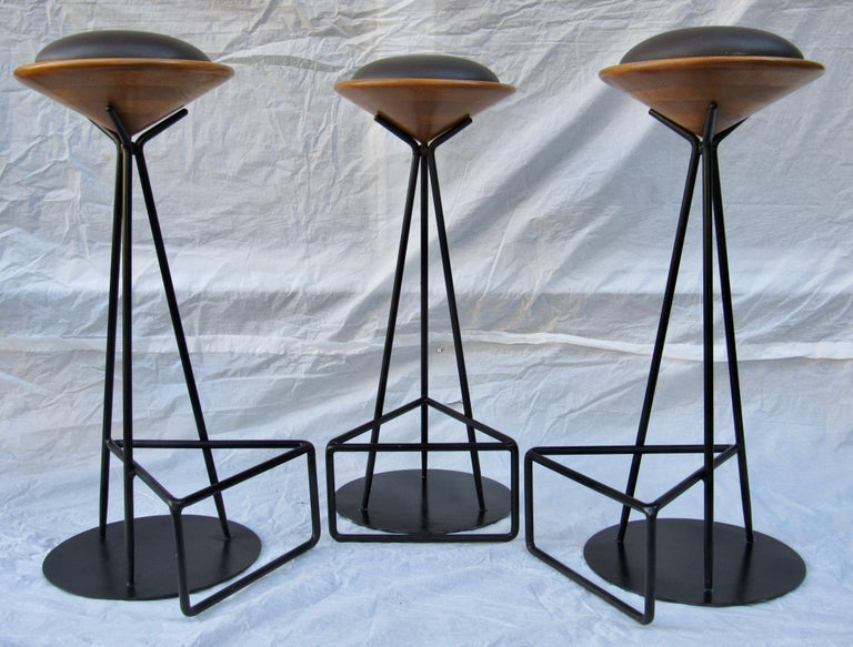 Mid-Century Modern 3 Oak and Wrought Iron Bar Stools Palm Springs California, 1960s For Sale