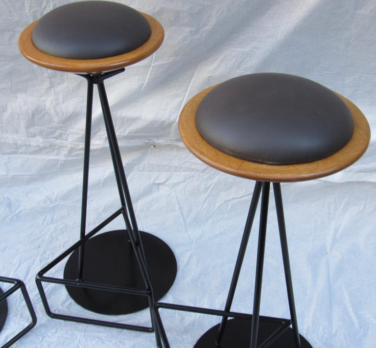 American 3 Oak and Wrought Iron Bar Stools Palm Springs California, 1960s For Sale