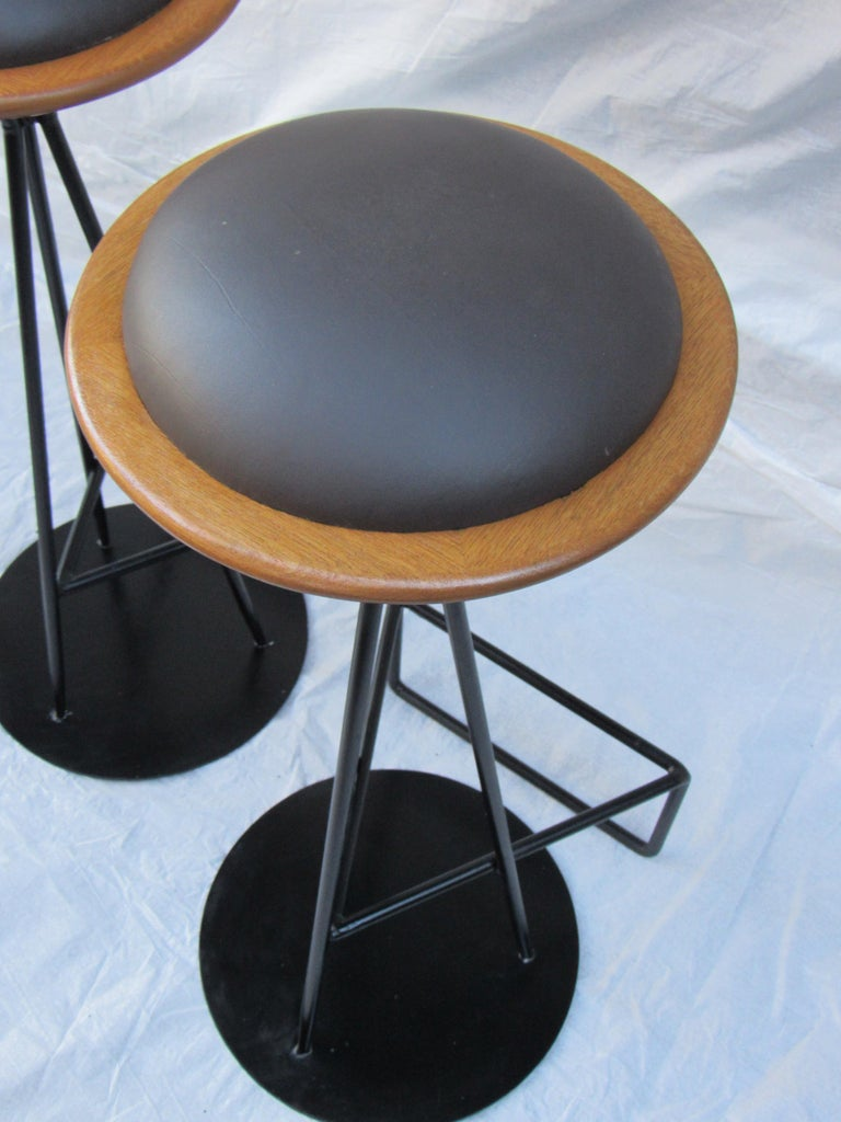 Turned 3 Oak and Wrought Iron Bar Stools Palm Springs California, 1960s For Sale