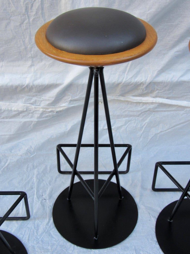 3 Oak and Wrought Iron Bar Stools Palm Springs California, 1960s In Good Condition For Sale In Camden, ME