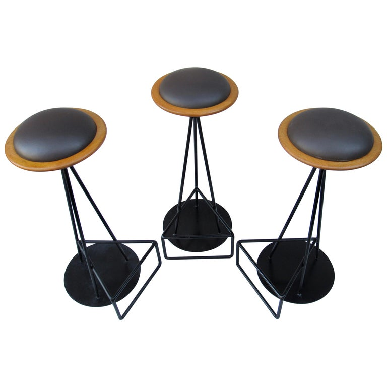 3 Oak and Wrought Iron Bar Stools Palm Springs California, 1960s For Sale