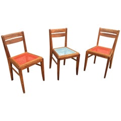 3 Oak Chairs in the Style of René Gabriel, circa 1950