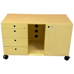 3 Office Furniture on Wheels, in Lacquered Metal, circa 1970/1980